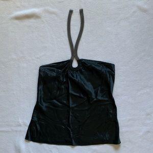 Elie Tahari Gray Halter Silk Blouse